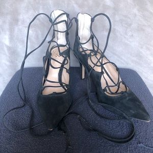 Vince Camuto Lace up Heels Black Suede Size 8M
